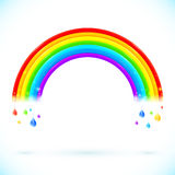 Bright isolated vector rainbows with color drops. Bright isolated vector rainbows with drops in cartoon style Stock Photos