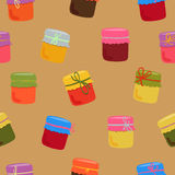Bright jam pattern. Bright seamless pattern with glass jars jam vector illustration