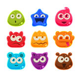 Bright Jelly Characters with Emotions. Vector Illustration Stock Photography
