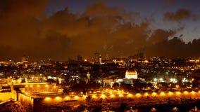 Bright Jerusalem old city lights over Al Aqsa Stock Photography