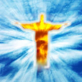 Bright Jesus on heaven. A beautiful shining golden Jesus Christ figure in heaven with rays of light Royalty Free Stock Photos