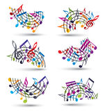 Bright jolly vector staves with musical notes on white backgroun Royalty Free Stock Photography