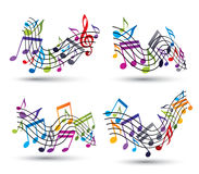 Bright jolly vector staves with musical notes on white backgroun Royalty Free Stock Photo