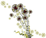 Bright joyful hand drawn spherical dandelions Royalty Free Stock Image