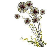 Bright joyful hand drawn spherical sectored dandelions with wavy Stock Images