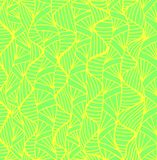 Bright juicy abstract ornament background. Green color, yellow color outline. Decorative element Doodle. Isolated pattern. Vector hand drawn solar summer Vector Illustration