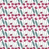 Bright juicy cherry seamless pattern watercolor hand sketch Royalty Free Stock Photo