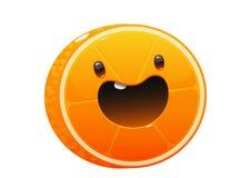 Bright juicy delicious orange cartoon happy Stock Images