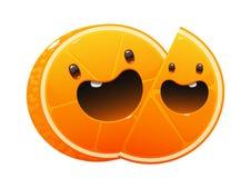 Bright juicy delicious orange cartoon two happy Stock Images