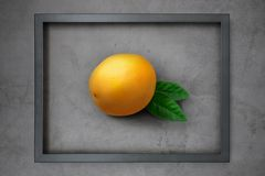 Bright, juicy fresh lemon in a wooden frame on a gray cement background.  stock images
