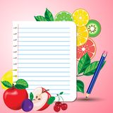 Bright juicy fruits around a sheet of notepad royalty free illustration