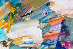 Yellow, red, blue paint on the palette. royalty free stock images