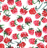 Bright juicy raspberry seamless pattern watercolor hand sketch Royalty Free Stock Images