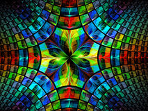 Bright kaleidoscope - abstract digitally generated image. Bright multicolor fractal background - abstract computer-generated image. Backdrop with flower and Stock Images