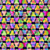 Bright kaleidoscope, montage polka dot abstract grunge colorful splashes texture watercolor seamless pattern in yellow. Green, pink colors palette on black royalty free stock images