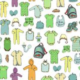 Vector seamless pattern of children`s clothes royalty free illustration