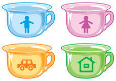 Bright kids potty. Bright kids potty with silhouettes of boy, girl, car, house Vector Illustration