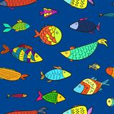 Bright kids pattern with color cartoon fishes. Bright kids seamless pattern with color cartoon fishes. Stylized cute colorful aquarium or river fish for children Vector Illustration
