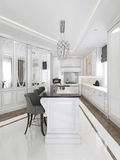 Bright kitchen classical style Stock Image