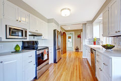 Bright kitchen room in whtie color Stock Photo
