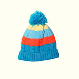 Bright knitted hat. On a white background royalty free stock photo