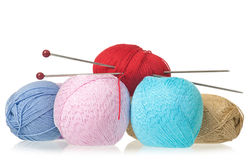 Bright knitting accessories Stock Photos