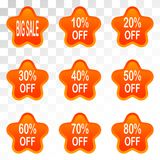 Set of sale design elements isolated without a shadow. Sale. Sti. Bright labels. Hot sale. Discounts. Shopping season. A set of stickers. Special offer vector Stock Photos