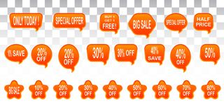 Set of sale design elements isolated without a shadow. Sale. Sti. Bright labels. Hot sale. Discounts. Shopping season. A set of stickers. Special offer vector Stock Photography