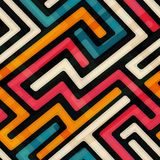 Bright labyrinth seamless pattern Royalty Free Stock Photos