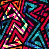 Bright labyrinth seamless pattern with grunge effect. (eps 10 Stock Illustration