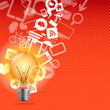 Bright lamp with icons Royalty Free Stock Images