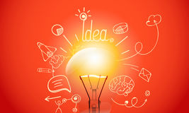 Bright lamp with media doodle icons Stock Image