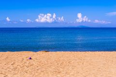 Bright landscape of the sea coast and sky with horizon. Bright landscape of the sea coast and sky with the horizon for a natural background or for wallpaper royalty free stock image