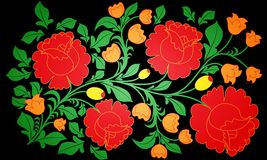 Bright large roses and other flowers painted on a black background. Pastiche of traditional Russian national pattern khokhloma. Royalty Free Stock Photography