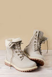 Bright leather winter boots on a light wooden background. Royalty Free Stock Photos