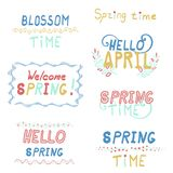 Bright lettering spring inscriptions set. Welcome spring hello April blossom time Stock Image