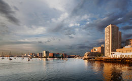 Bright light on Boston waterfront. Dramatic morning light on Boston Harbor and waterfront royalty free stock photos