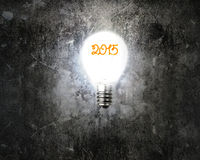 Bright 2015 light bulb illuminated dark old mottled concrete wal. L background Stock Image
