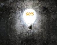 Bright 2015 light bulb illuminated dark old mottled concrete wal Stock Image