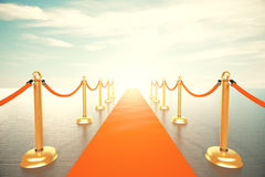 Bright light in the end of red carpet way Royalty Free Stock Images