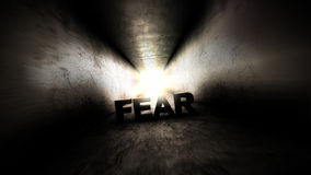 Bright light at the end of the tunnel. Fear in the dark corridor. Royalty Free Stock Photo