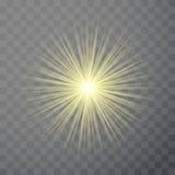 Bright light flare flash effect template. Solar ray sunburst transparent illuminated decoration. Vector illustration Stock Images