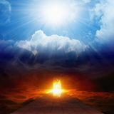 Bright Light From Heaven, Road To Hell, Heaven And Hell Royalty Free Stock Image