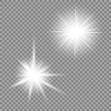 Bright light glare on a transparent background. Vector illustration for your design. royalty free illustration