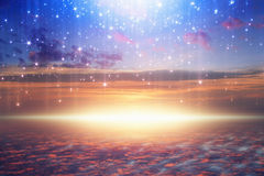 Bright light from heaven, stars fall from skies. Amazing heavenly background - bright light from heaven, stars fall from skies; glowing horizon, pink clouds royalty free stock image