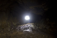 Bright Light Inside Lava Tube Cave Lighting Floor Royalty Free Stock Image