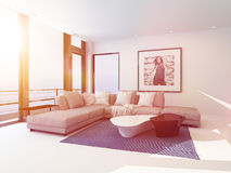 Bright light sitting room interior bathed in sun. Light through a lager view window overlooking the ocean with a comfortable modern corner lounge suit and art on Stock Photos