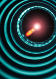 Bright light source on the end of the probe in a tube with rings. Bright light source on the end of the probe in a tube with concentric rings royalty free stock images