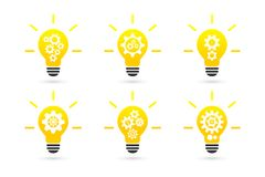 Bright lightbulb with gear wheels concept. Vector icon set royalty free illustration