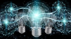 Bright lightbulb illuminating other bulbs 3D rendering Royalty Free Stock Photo